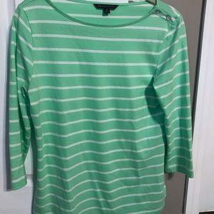 Brooks Brothers 3/4 sleeve striped shirt.